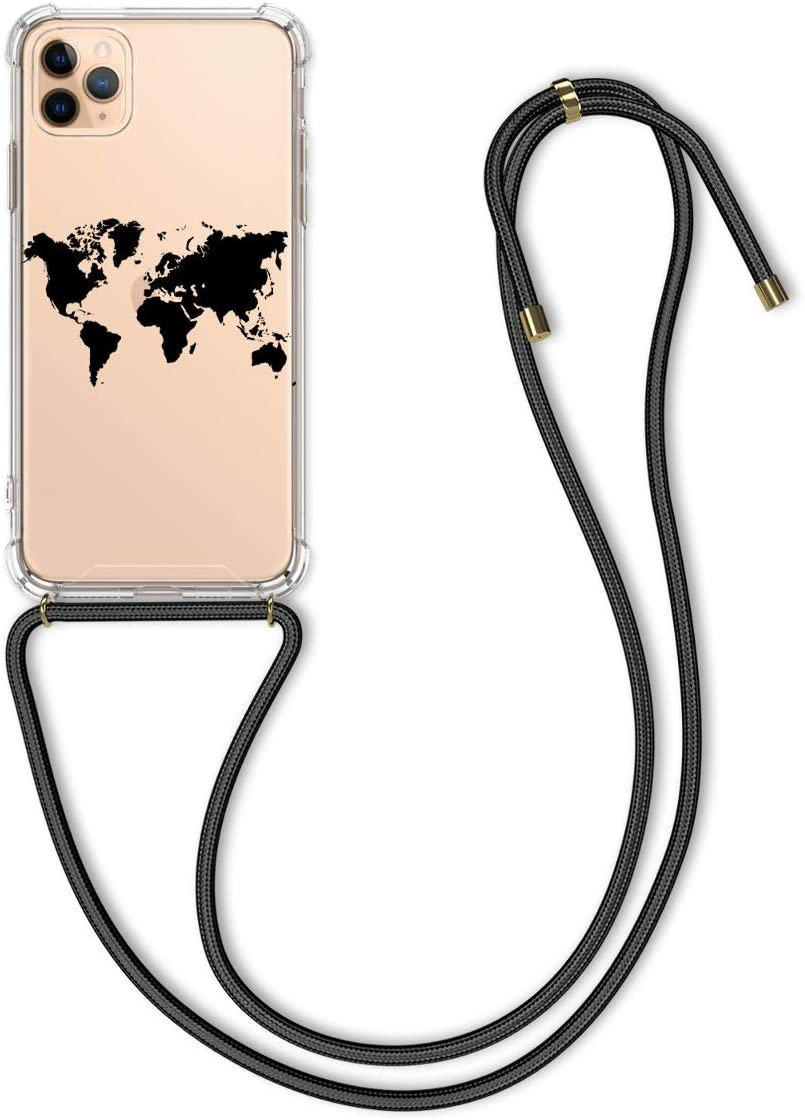 kwmobile Crossbody Case Compatible with Apple iPhone 11 Pro Max - Clear TPU Cell Phone Mobile Cover Holder with Neck Cord Lanyard Strap - Travel Outline Black/Transparent