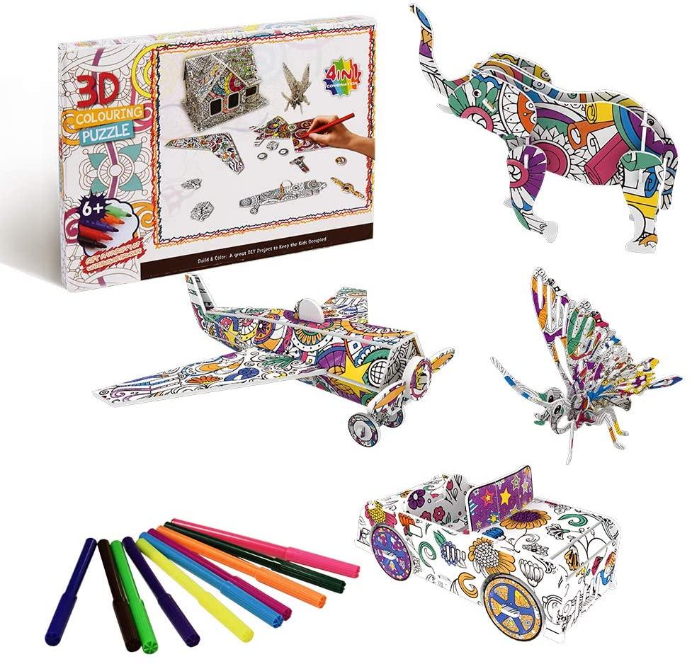 TOMMYHOME Color Painting 3D Puzzle for Kids.iq Builder,3D Pen for Kids Ages 6 7 8 9 10 11 12 13 14(B Suit)