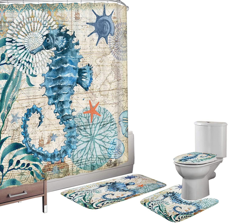Amagical Ocean Sea Horse Animal Seashell Starfish Pattern 16 Piece Bathroom Mat Set Shower Curtain Set Non Slip Bath Mat Contour Mat Toilet Cover Fabric Shower Curtain with 12 Hooks