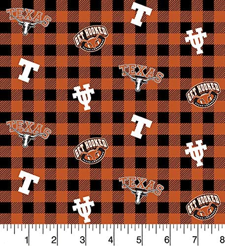University of Texas Cotton Fabric Buffalo Plaid Design-Newest Pattern-Sold by The Yard-SYKEL