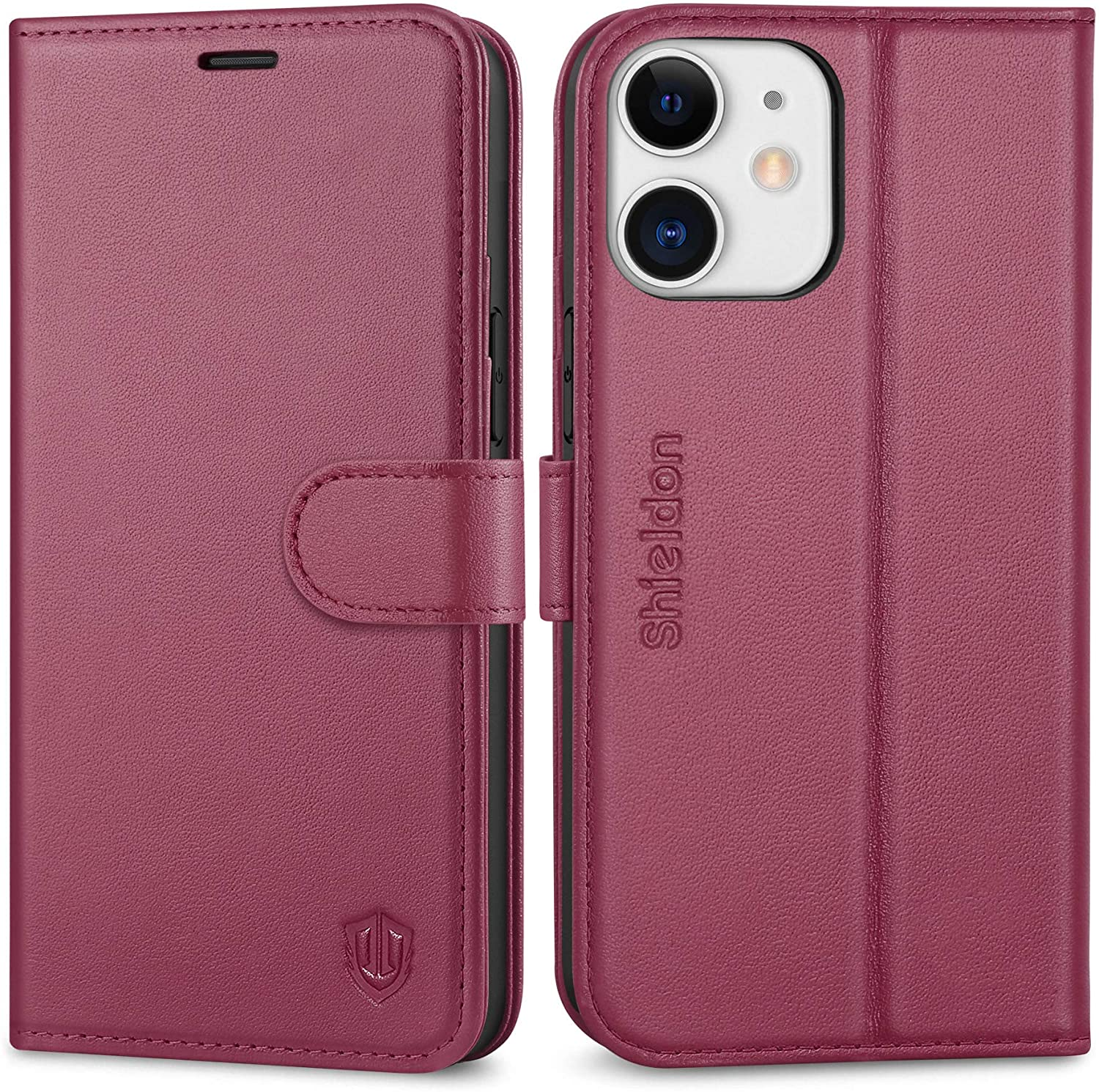 SHIELDON iPhone 12 Mini Case, Genuine Leather Wallet Case [RFID Blocking Credit Card Holder] Magnetic Closure Flip Book Cover Shockproof Case Compatible with iPhone 12 Mini 5G (5.4 2020) - Red Violet