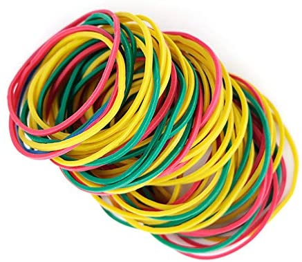 300pcs 50mm(2in) Multi Color Rubber Bands Elastics Bands Sturdy Rubber Bands for Home or Office use