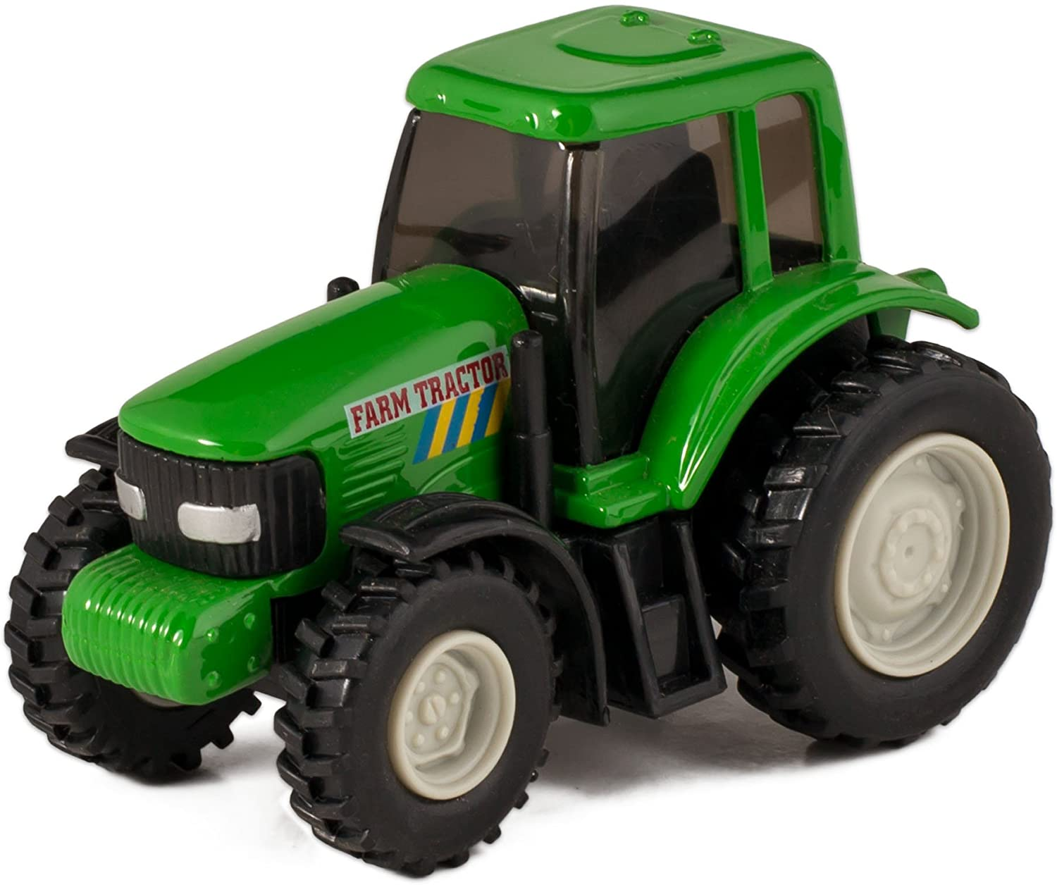 Green Die Cast Metal Farm Tractor Toy with Pull Back Action by Master Toy