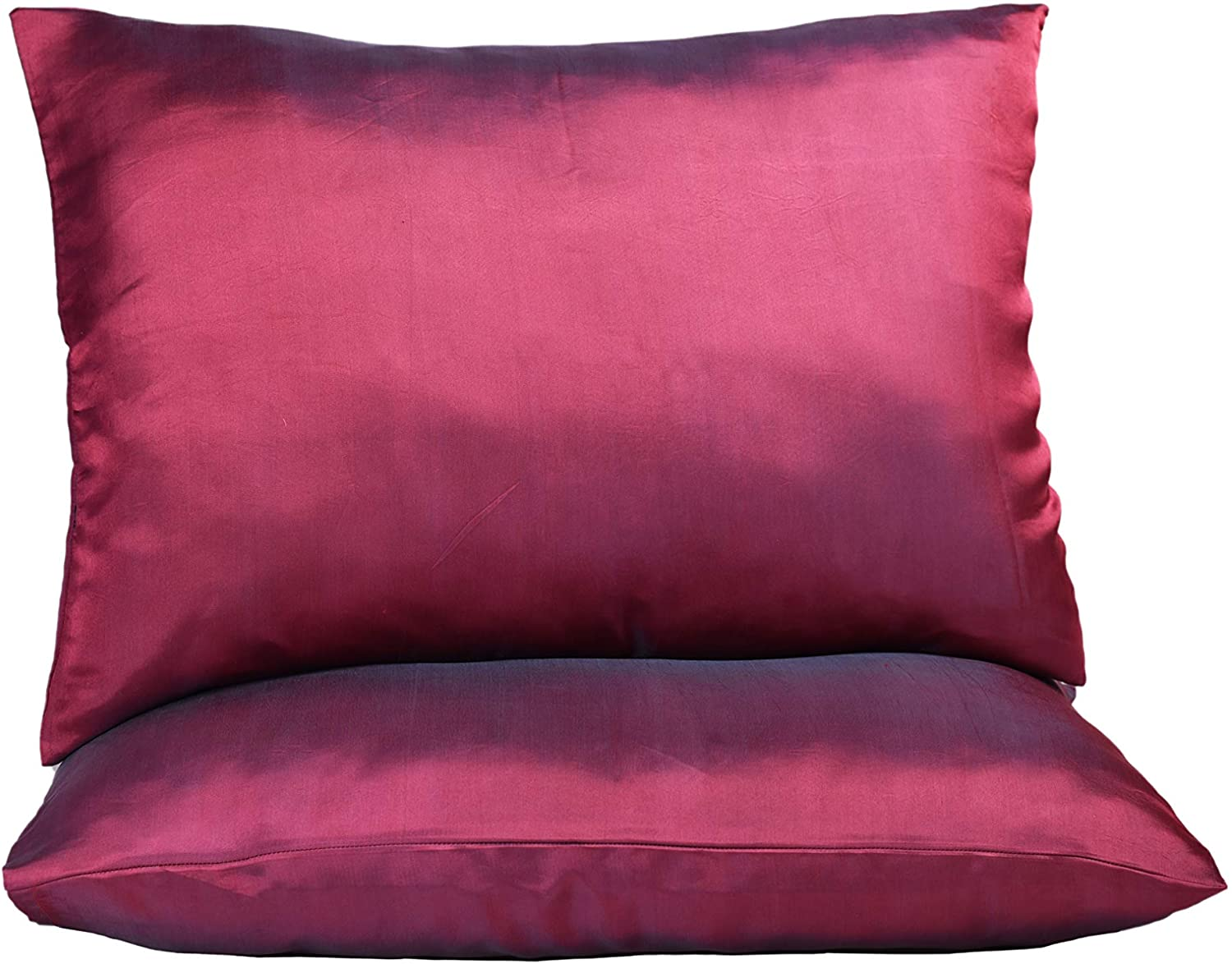 Hannah Silk 1 Pair Standard Pure Mulberry Silk Pillowcase.25 Momme. 100% Pure Mulberry. Cares for Your Hair and Complexion. Queen Size. Envelope Closure (Pack of 2) (Red Wine)