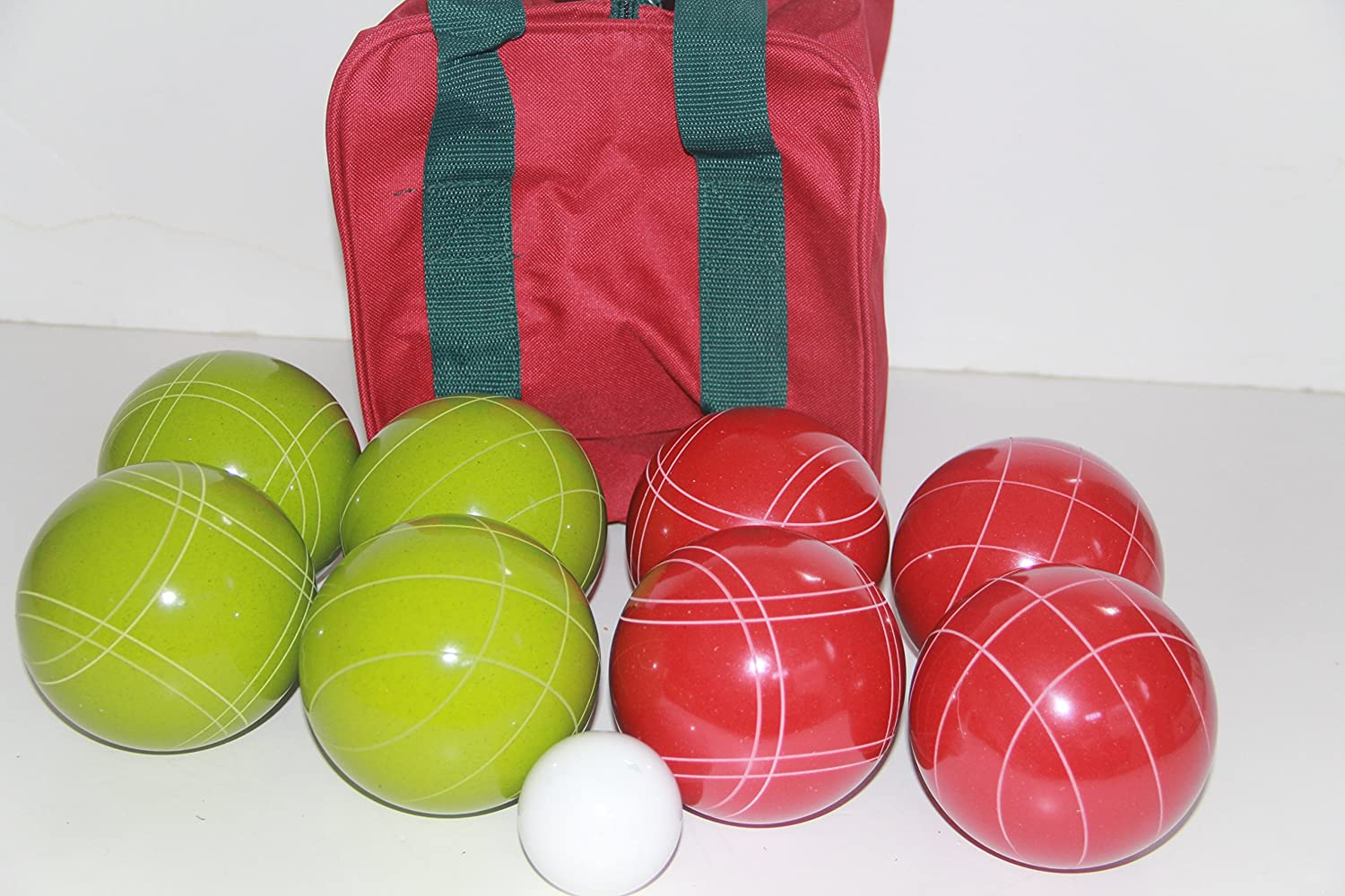Premium Quality and Italian/American Made, 110mm EPCO Bocce Set - Rustic Green/Red Balls and Maroon/Green Bag