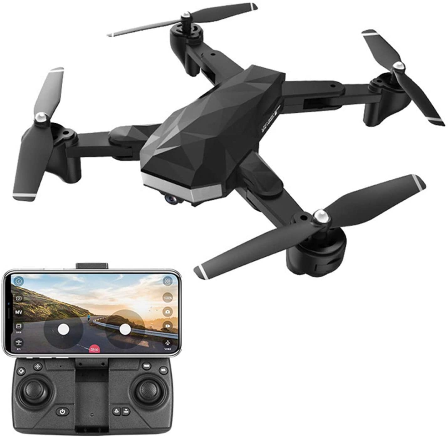 shuaiyin Drone with Dual High-Definition Camera, Foldable Remote Control Quadcopter, Takes Off and Lands with One Click, for Children Beginners Boys