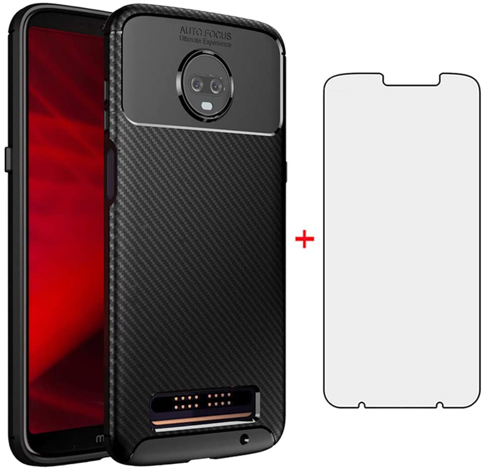 Phone Case for Motorola Moto Z3 / Z3 Play with Tempered Glass Screen Protector Cover Cell Accessories Bumper Slim Thin Rugged Full Body Rubber Silicone MotoZ3 Z 3case 3 3Z Z3play Women Men Girls Black