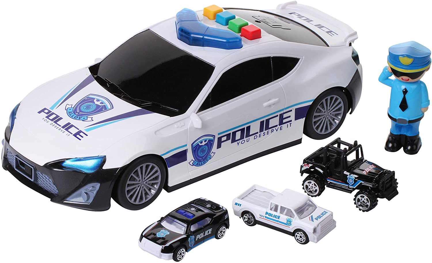 Dazmers Police Vehicle Storage Toy - Police Car Carrier Toy for Kids with Lights and Sounds - Police Cars Toys Set for Cops and Robbers Game, Includes a 3 Police Cars and a Police Officer