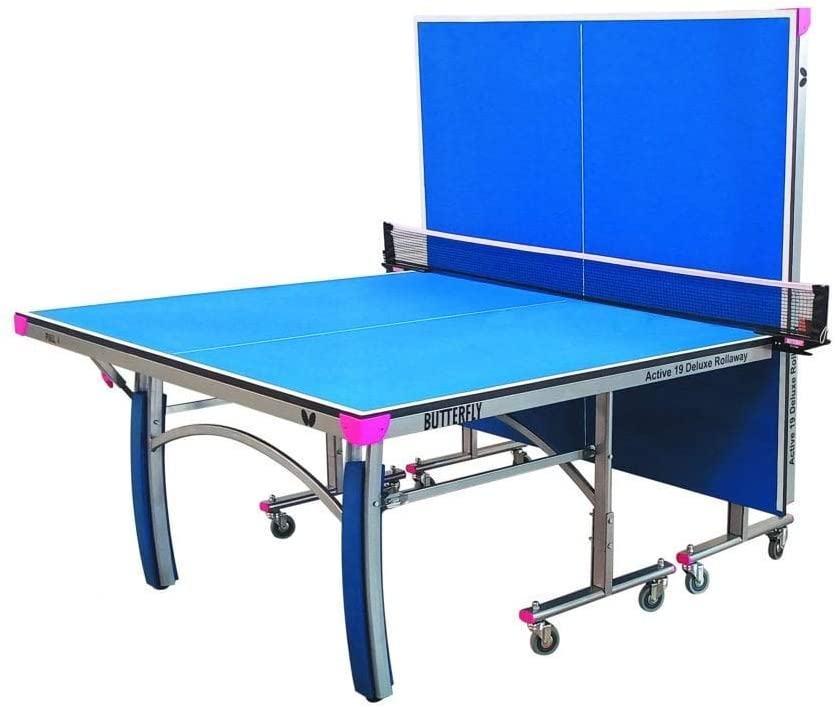 Butterfly Active 19 Deluxe Indoor Ping Pong Table | Professional Ping Pong Table | Compact Storage Ping Pong Table | 10 Minute Easy Assembly | Foldable Ping Pong Table, Blue