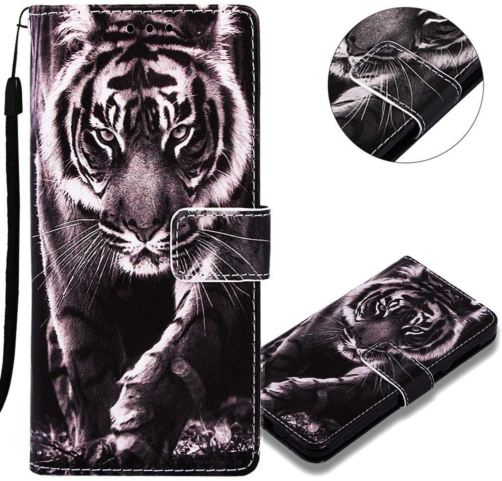 EMAXELER Galaxy A21 Case 3D Creative Pattern PU Leather Flip Wallet Case Magnetic with Kickstand Credit Cards Slot Stand Case Cover for Samsung Galaxy A21 (EU Version) YBC Black and White Tiger.