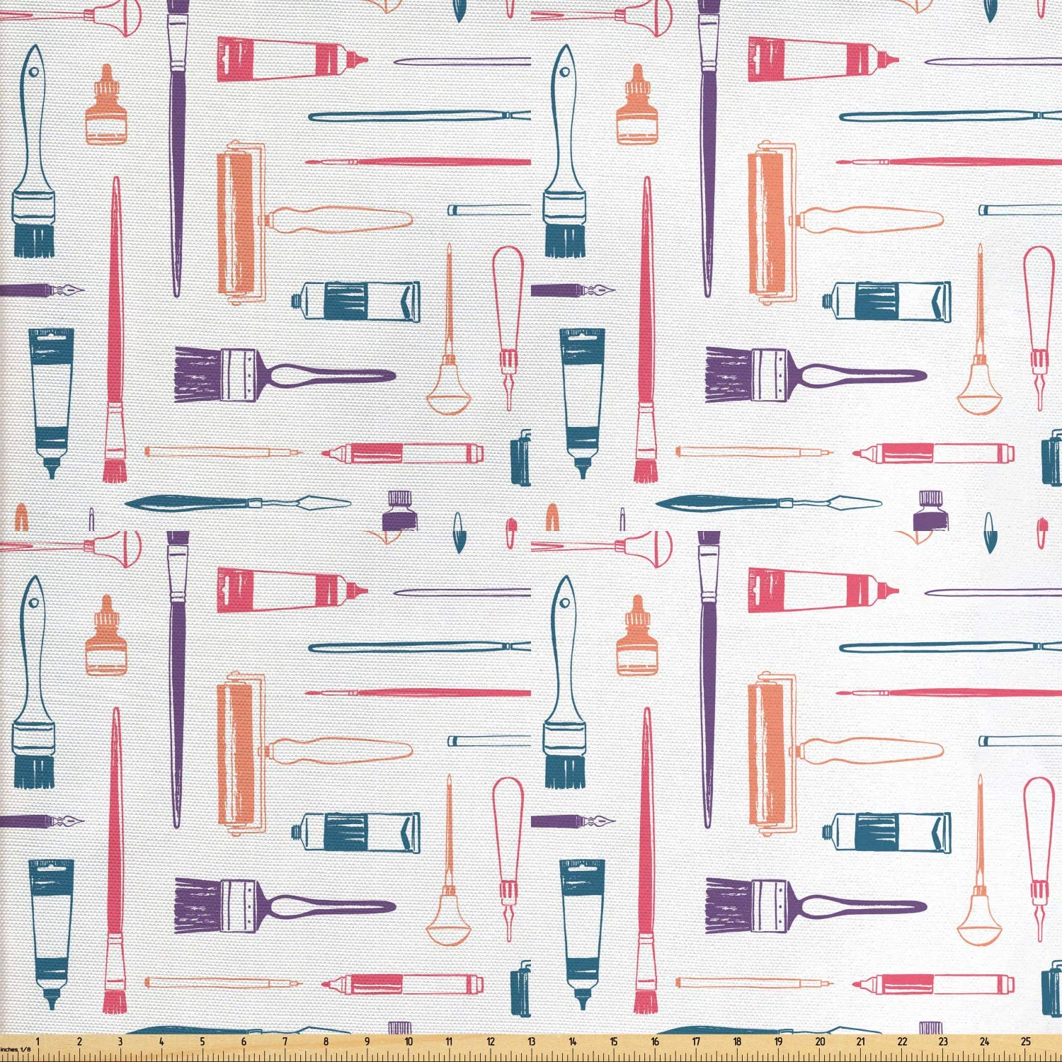 Ambesonne Hobby Fabric by The Yard, Painting Equipment in Outline Style Art Supplies Pattern Tubes and Brushes, Decorative Fabric for Upholstery and Home Accents, 1 Yard, Multicolor