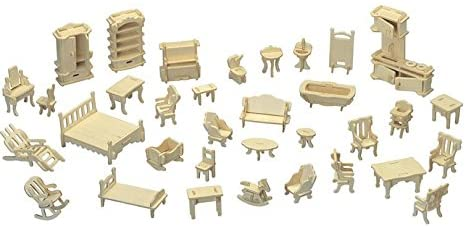 NWFashion 1:20 Scale Wooden Piecese 34Sets Furnitures for Dollhouse(Furniture Sets)