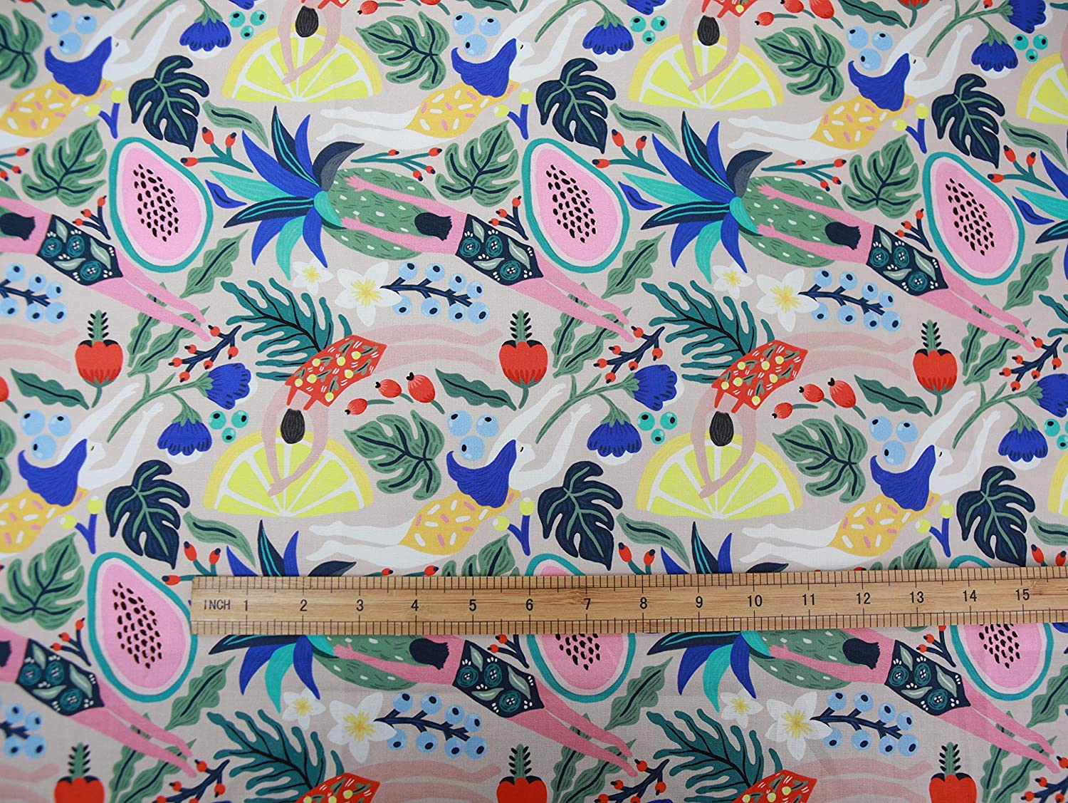 COTTONVILL MALLANGLUNA Collection 20count Cotton Print Quilting Fabric - Floral Forest (3yard, Mystic Swim-1)