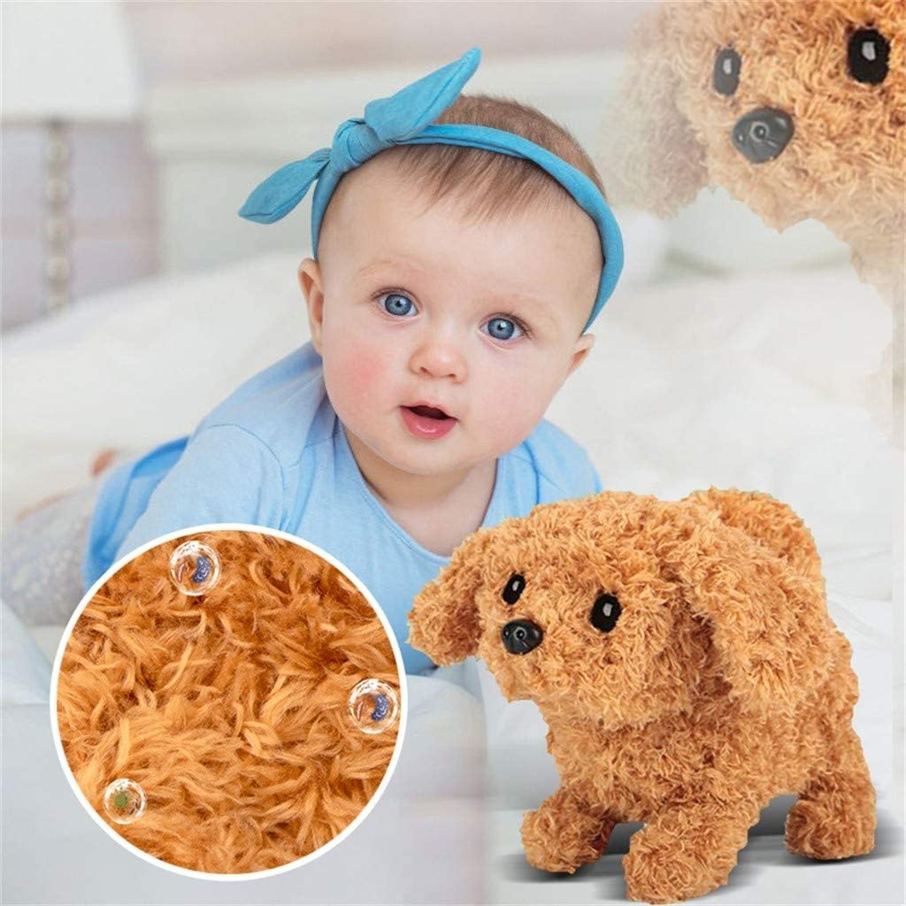 MarryLee Toy Dog for Kids - Smart Electric Interactive Golden Plush Toy Teddy - Walking, Wagging Tail, Stretching Toy Robot Puppy Dog - Animated Dog Gift for Girls Boys Children (Orange)