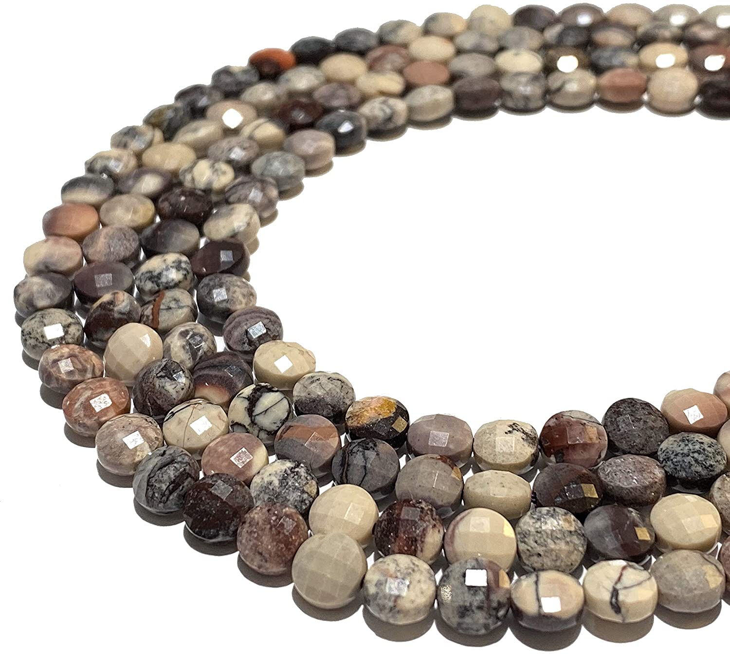 [ABCgems] Mexican Porcelain Jasper (Exquisite Matrix) Tiny 6mm Micro-Faceted Diamond-Cut Checkerboard Coin Beads (A Revolutionary Cutting Process- More Surface to Reflect Light)