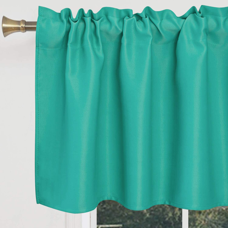 S DOLLCT Turquoise Valances for Windows - Waterproof Room Darkening Kitchen Curtain Valances Rod Pocket Bathroom Valances for Living Room Bedroom, 1 Panel, 42 x 18 Inch