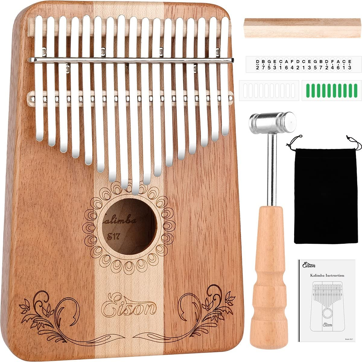 Kalimba,Eison Kalimba with Key Locking System Thumb Piano Finger Piano 17 keys with Instruction and Tune Hammer, Solid Wood Mahogany & Maple Body- Best Gift for Music Fans Kids Adults