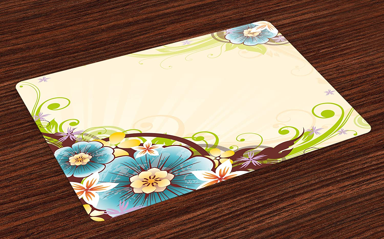 Lunarable Floral Place Mats Set of 4, Striped Background with Flower Bouquets on Corners Spring Blossoms Artwork Print, Washable Fabric Placemats for Dining Room Kitchen Table Decor, Multicolor