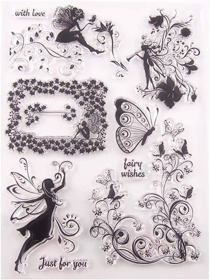 i7kbgshj Transparent Stamps DIY Fairy Paper Craft Clear TPR Stamp Seal DIY Stamp Printing Embossing Stamper for DIY Scrapbooking Album Photo Card Craft Diary Making Christmas Greeting Card Decor