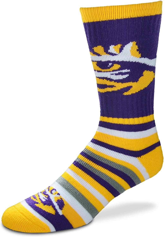 For Bare Feet NCAA Lotta-Stripe Men's Crew Dress Socks