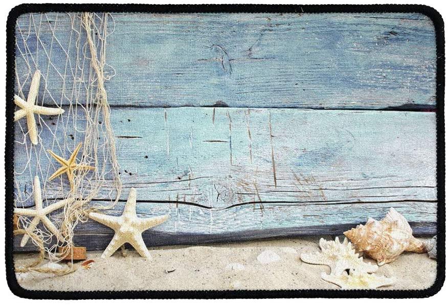 NETILGEN Anti-Slip Door Mat, Starfish Durable Rubber Door Welcome Mat, Super Absorbent, Washable Door Mat Easy to Clean Low-Profile Kitchen Doormat