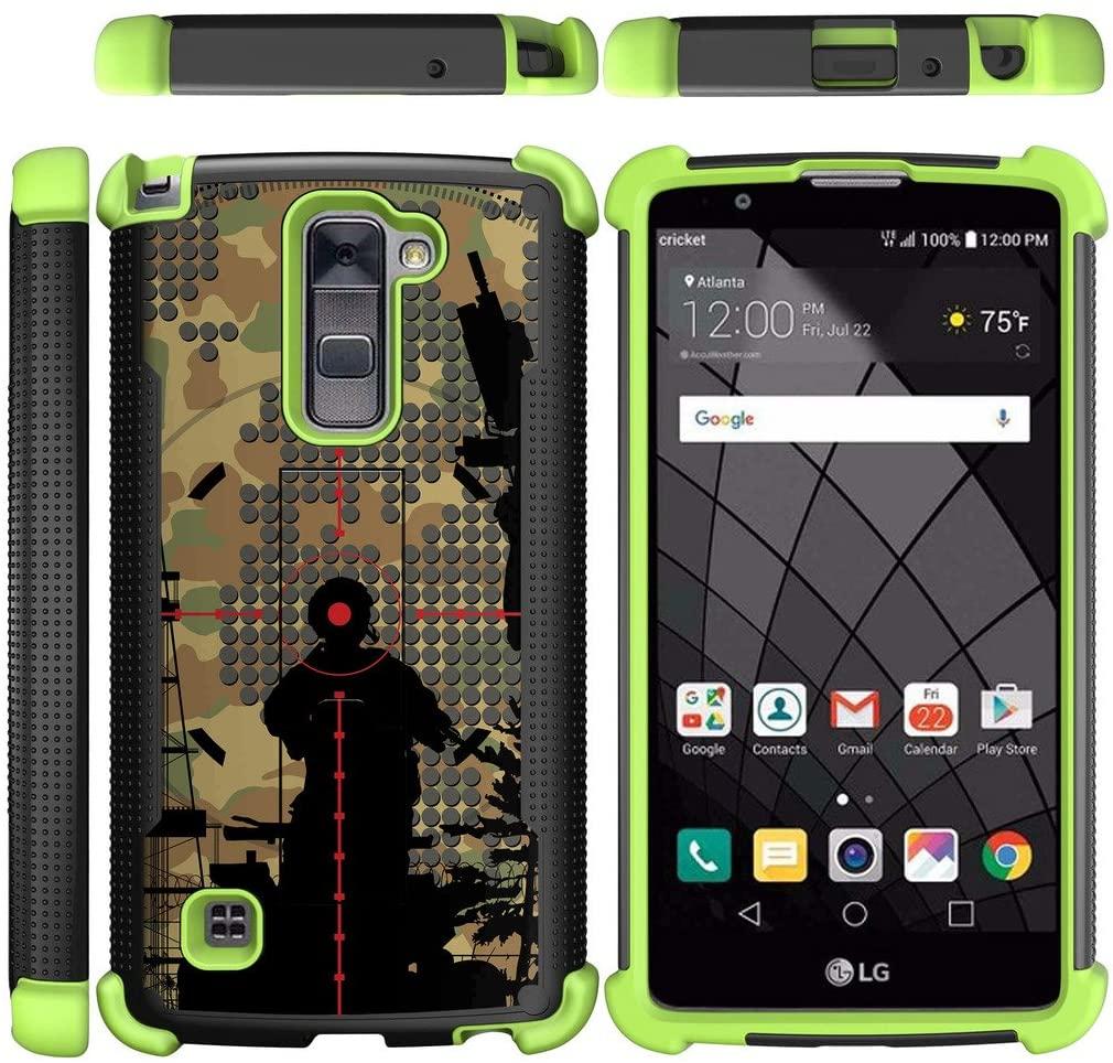 TurtleArmor | Compatible with LG Stylus 2 Plus Case | LG Stylo 2 Plus Case [Grip Combat] Hard Shock Impact Dual Armor Kickstand Defender Case Green - Bullseye Scope