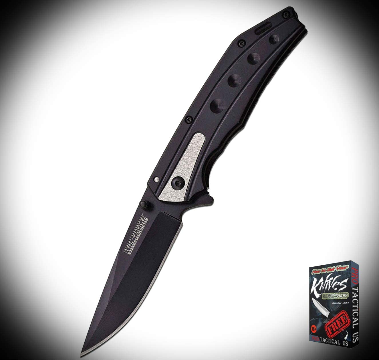 New Tac Force Framelock Stainless Black Finish Blade and Handle ProTactical Elite Knife BK0407RT + Free eBook