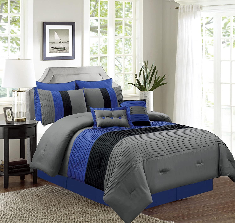 Grand Linen 8 Piece (California) Cal King Size Navy Blue/Black/Grey Pin Tuck Stripe Regatta Goose Down Alternative Comforter Set 104