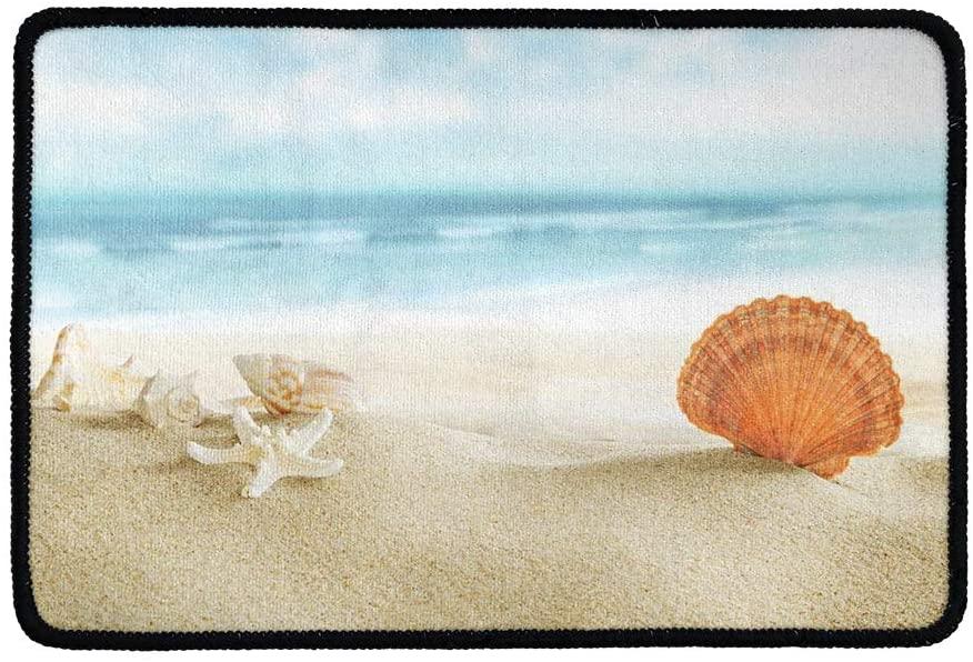 BIGCARJOB Sea Starfish Shells Coastal Scents Doormats Entrance Front Door Rug Ocean Beach Theme Door Mats Kitchen Floor Bath Entrance Rug Mat