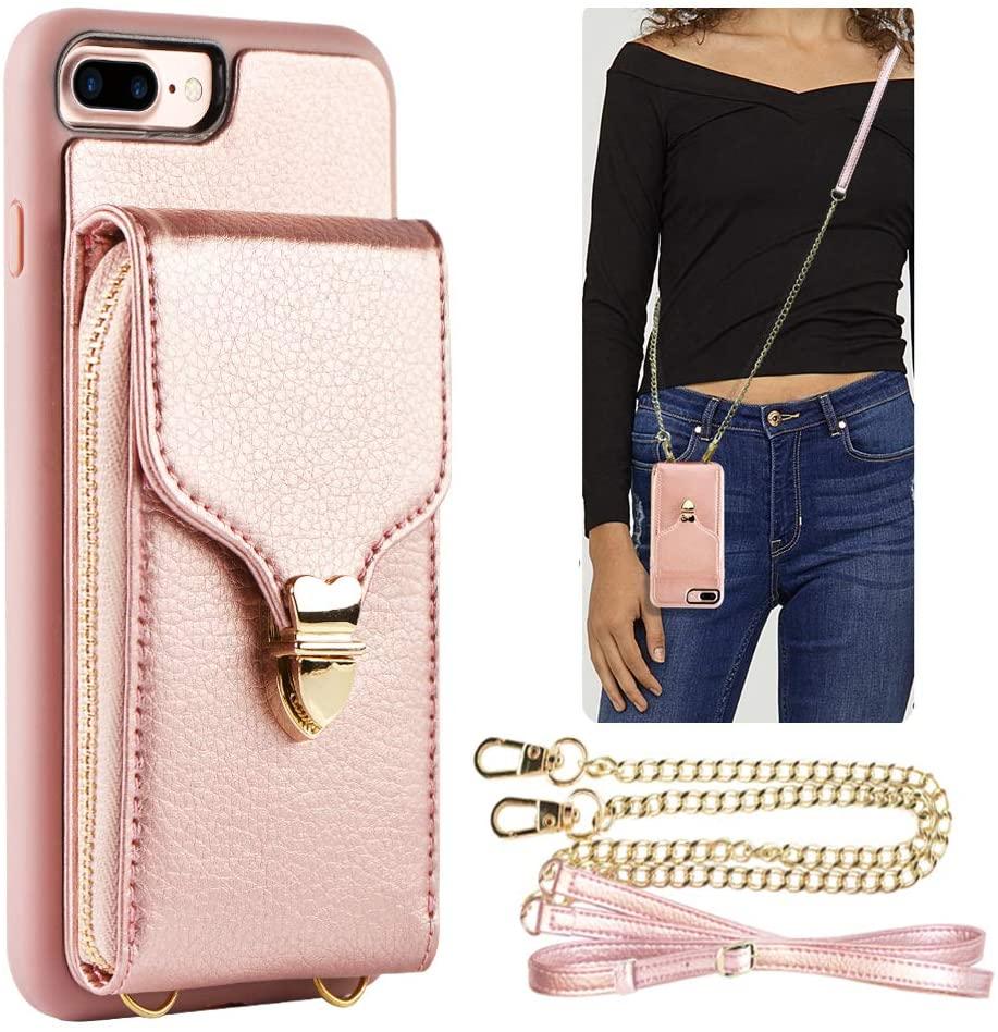 JLFCH iPhone 8 Plus Wallet Case, iPhone 7 Plus Zipper Wallet Case with Card Slot Holder Leather Handbag Buckle Detachable Wrist Strap Long Crossbody Strap Purse for iPhone 7/8 Plus 5.5 - Rose Gold