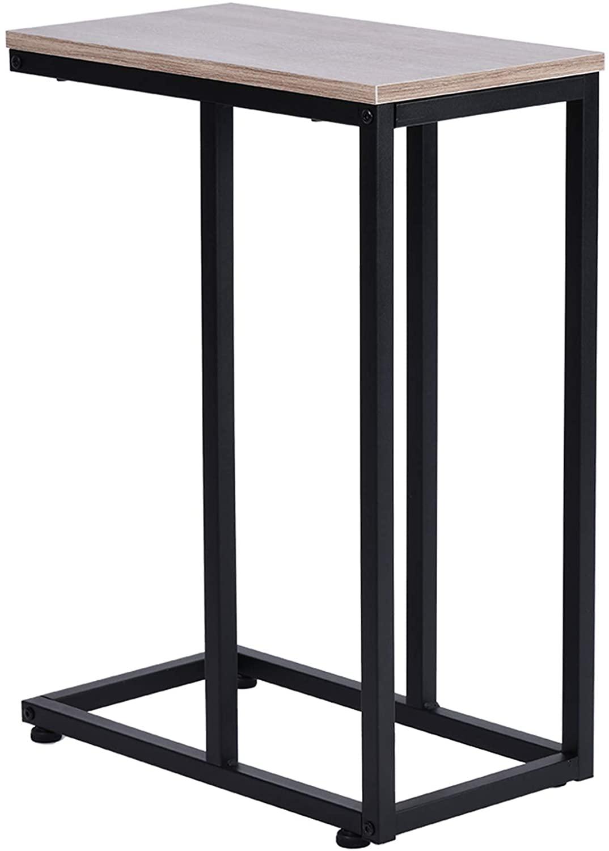 Iron Sofa Accent Table Wood Grain - Simplistic End Table Corner Shelves
