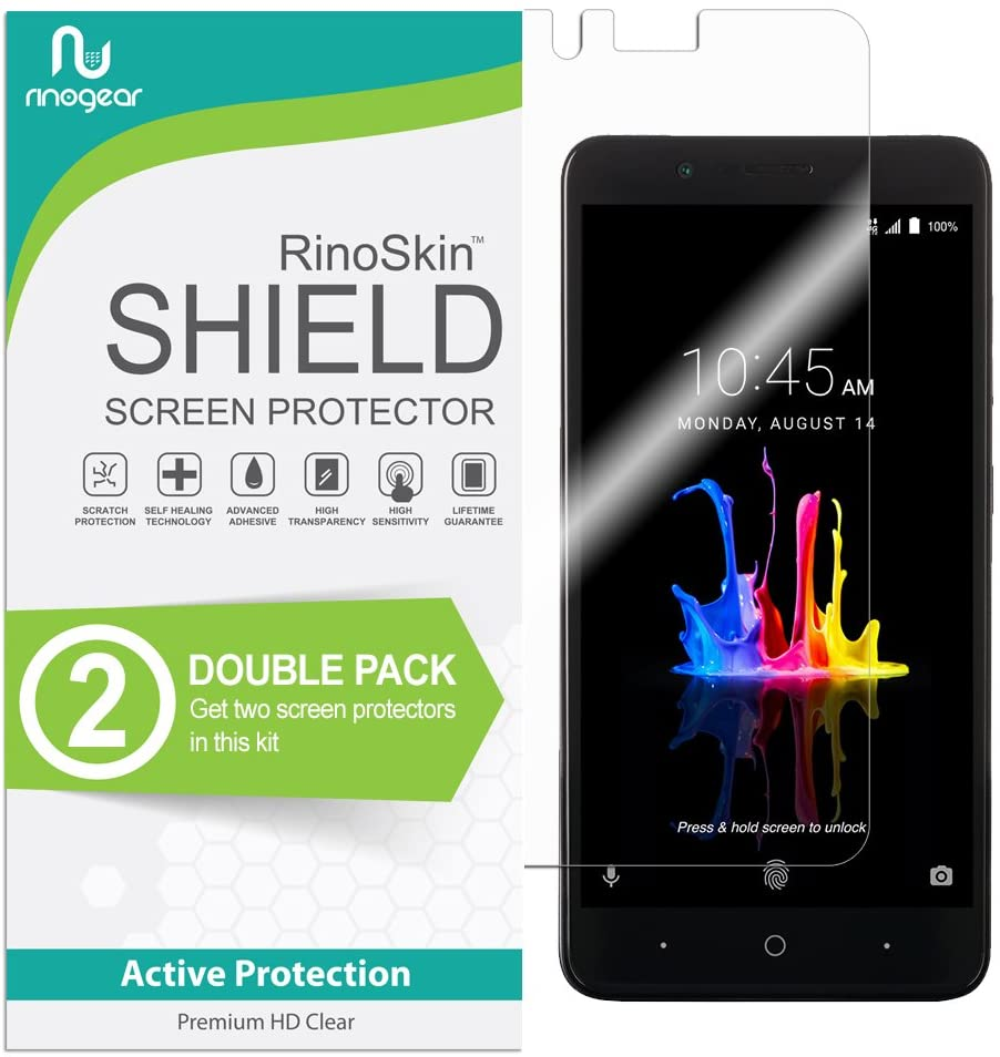 (2-Pack) RinoGear Screen Protector for ZTE Blade Z Max Case Friendly ZTE Blade Z Max Screen Protector Accessory Full Coverage Clear Film