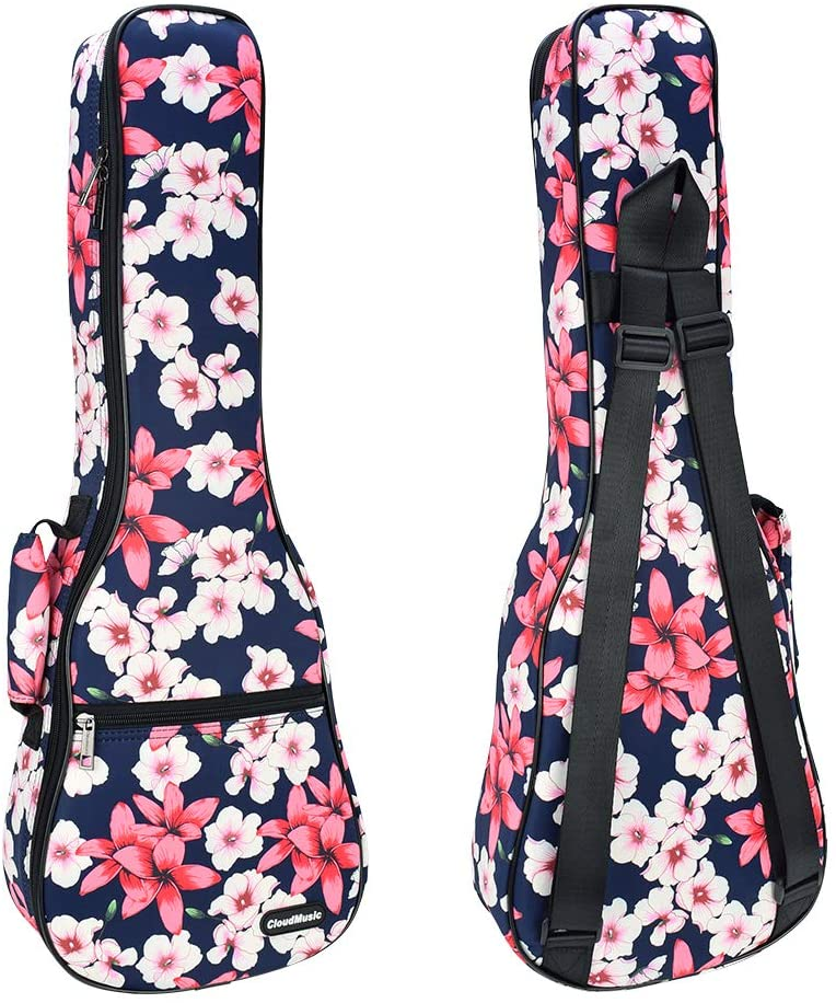 CLOUDMUSIC Ukulele Case Floral Series With Backpack Staps For Soprano Concert Ukulele Players(Plumeria, Soprano)