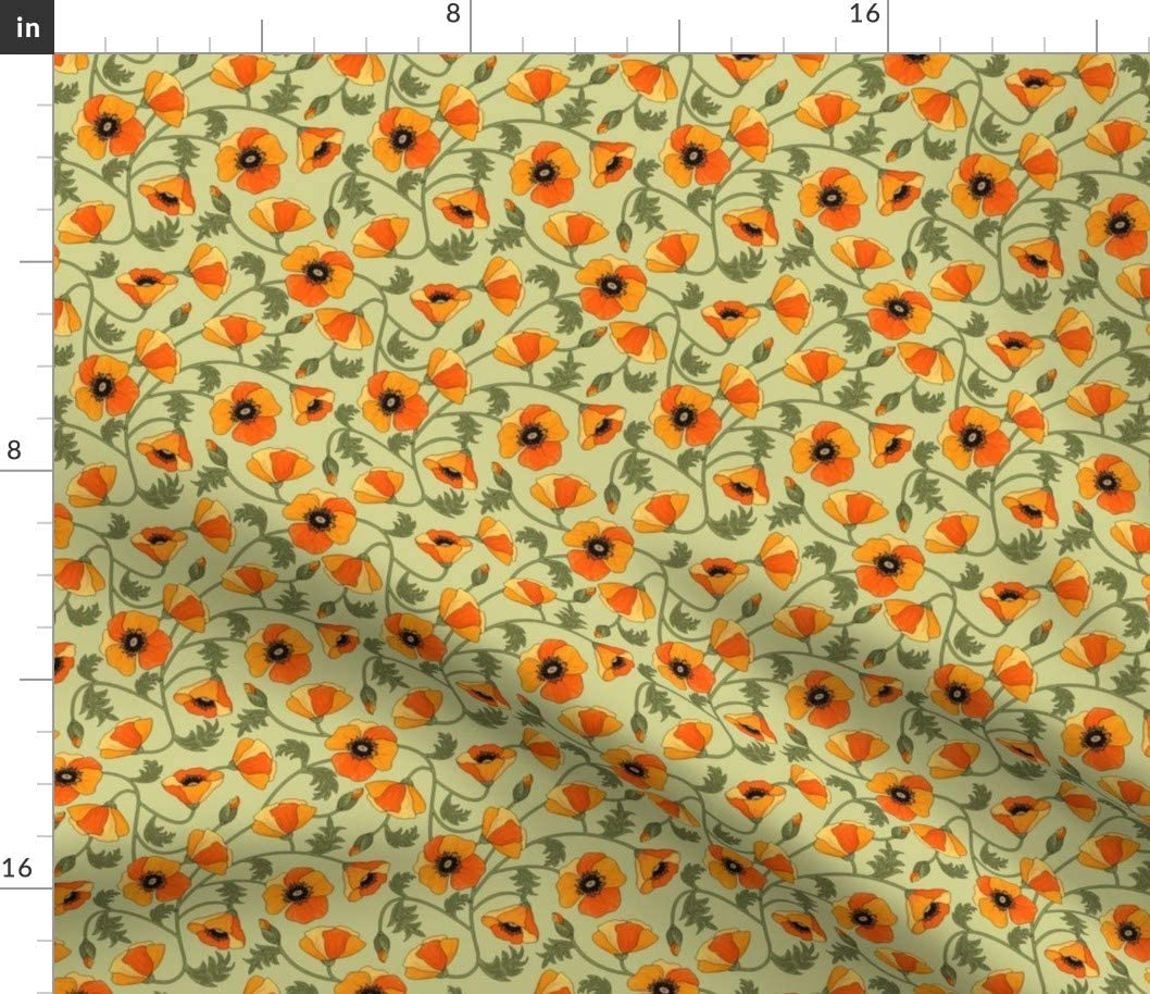 Spoonflower Fabric - Poppies Yellow Flowers Field Flower Poppy Printed on Petal Signature Cotton Fabric by The Yard - Sewing Quilting Apparel Crafts Decor