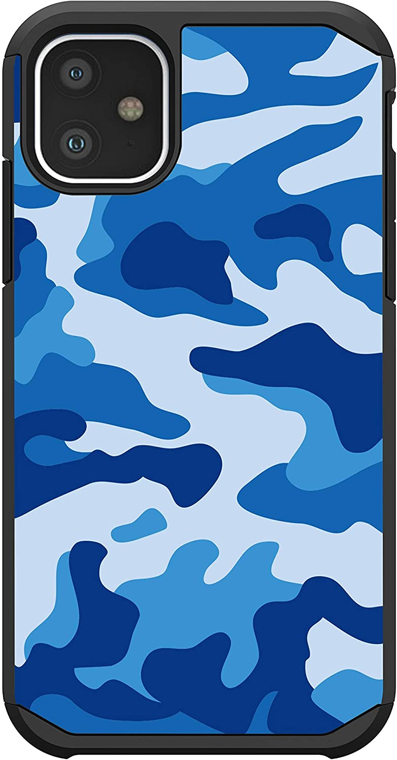 MINITURTLE Compatible with Apple iPhone 11 6.1 Phone Protector Slim Hybrid Dual Layer Case Cover [Defender] - Blue Camo
