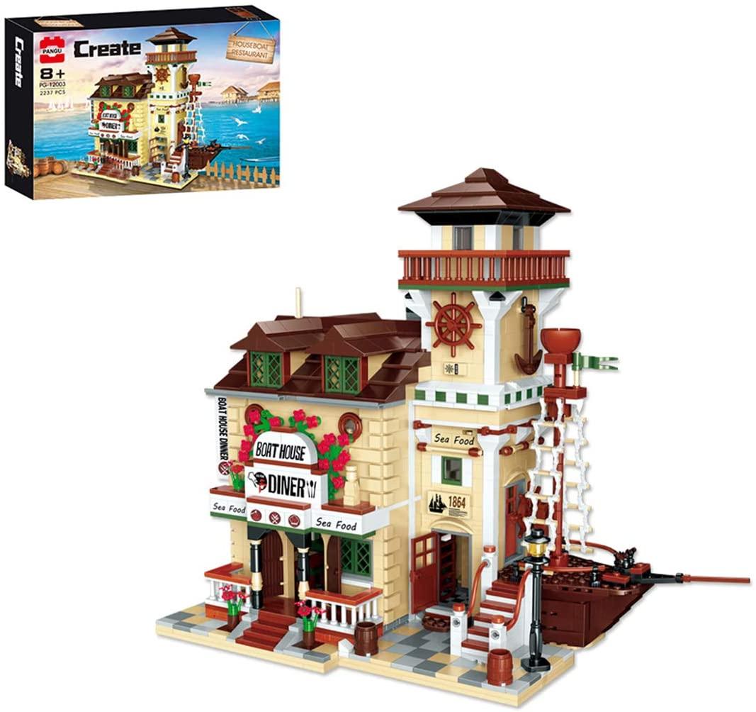 Goshfun 2237Pcs Figure Scale Houseboat Restaurant Building Blocks Model Toy Set, DIY Moc Bricks Small Particle Construction Educational Toy Kit