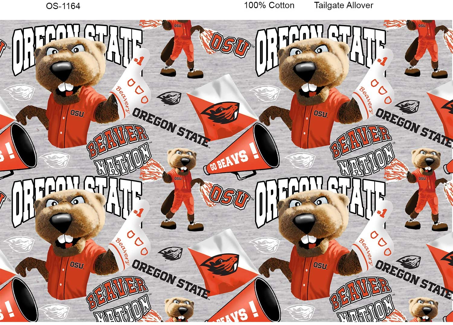 Oregon State Cotton Fabric with Mascots-Newest Pattern-NCAA Cotton Fabric