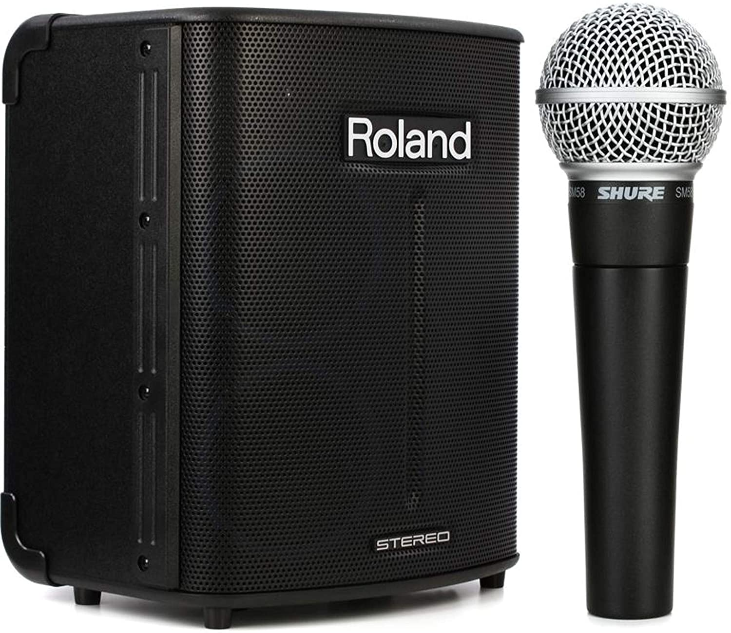 Roland BA-330 Portable Stereo PA System + Shure SM58 Cardioid Dynamic Vocal Microphone Value Bundle
