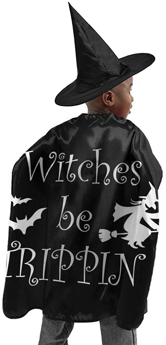 Halloween Costume 2 Pcs Witches Be Trippin Horizontal Poster Halloween Wizard Hat Cape Cloak Boy and Girl Party Costume Black