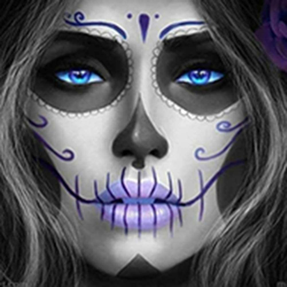 NOOCREAL DIY Paint by Numbers for Adults Beginner, Skull Girl, Diamond Art 16x16 inches Number Painting Anti Stress Toys