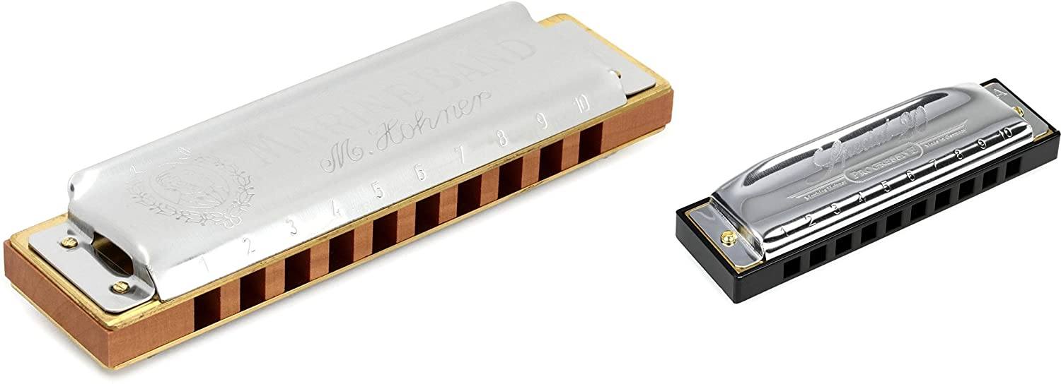 Hohner Marine Band Harmonica - Key of D + Hohner Special 20 Harmonica - Key of A Value Bundle