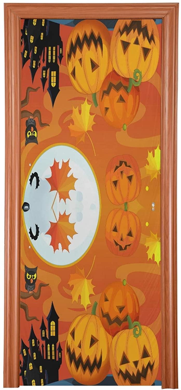 Qilmy Halloween Door Cover Pumpkin Door Decoration Cover for Halloween Thanksgiving Christmas Party Decoration,32 x 79 Inch