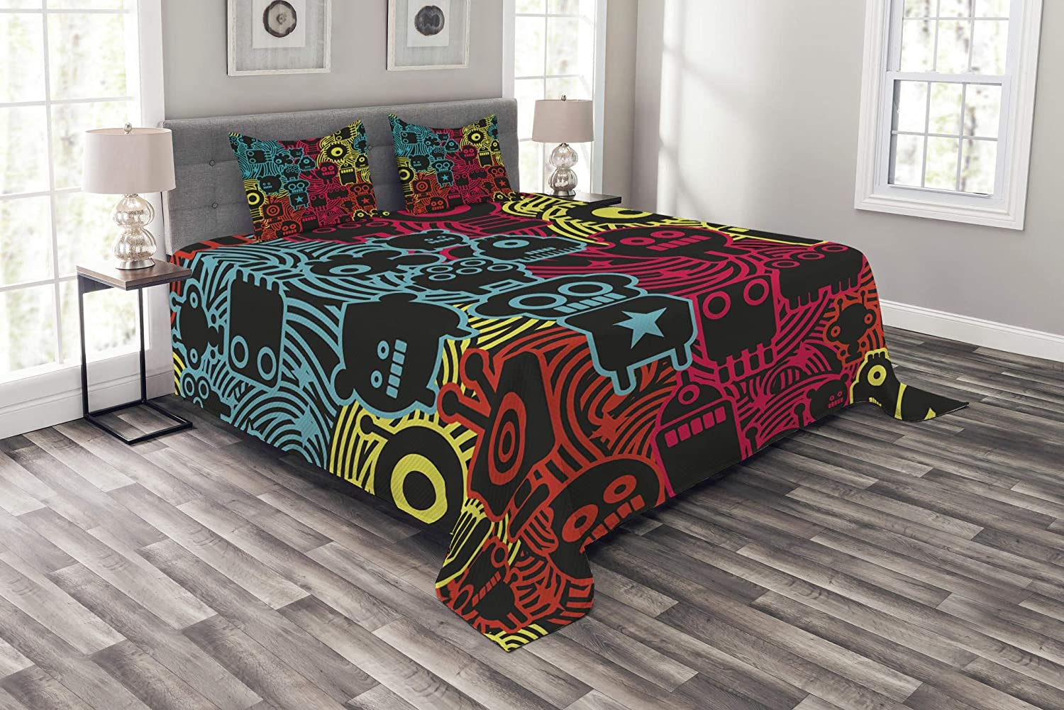 Lunarable Modern Bedspread, Digital Monsters and Robots Animals Futuristic Kids Caricature Illustration, Decorative Quilted 3 Piece Coverlet Set with 2 Pillow Shams, Queen Size, Multicolor