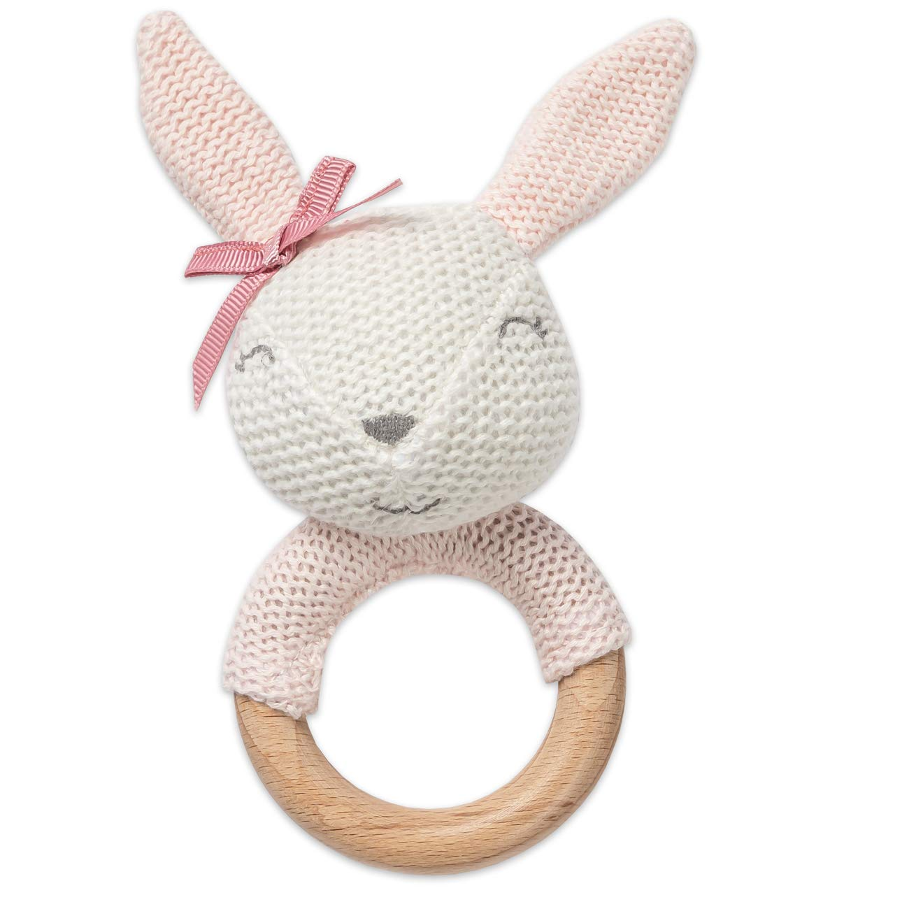 Brownlow Gifts Baby Rattle with Beechwood Teething Ring, 5