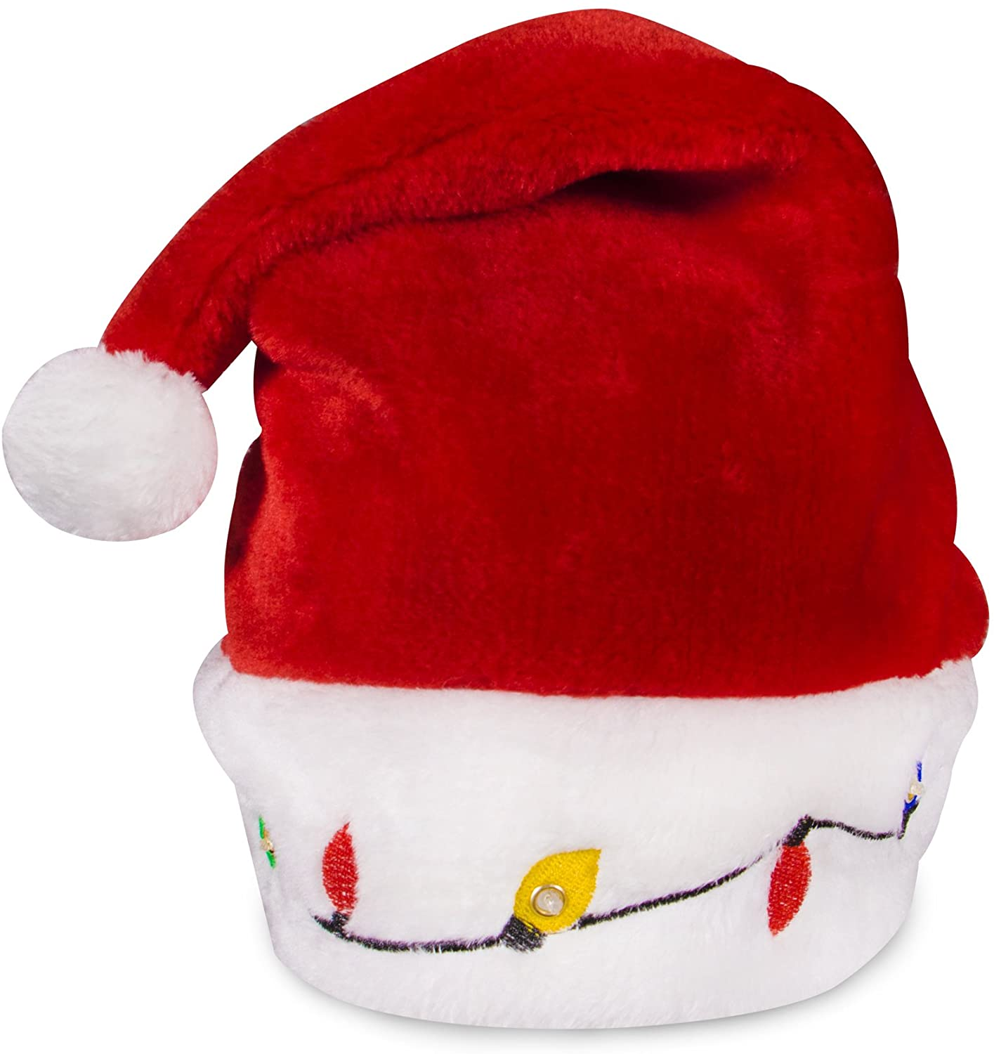 LED Light-up Christmas Bulb Plush Santa Hat for Adults and Kids Red