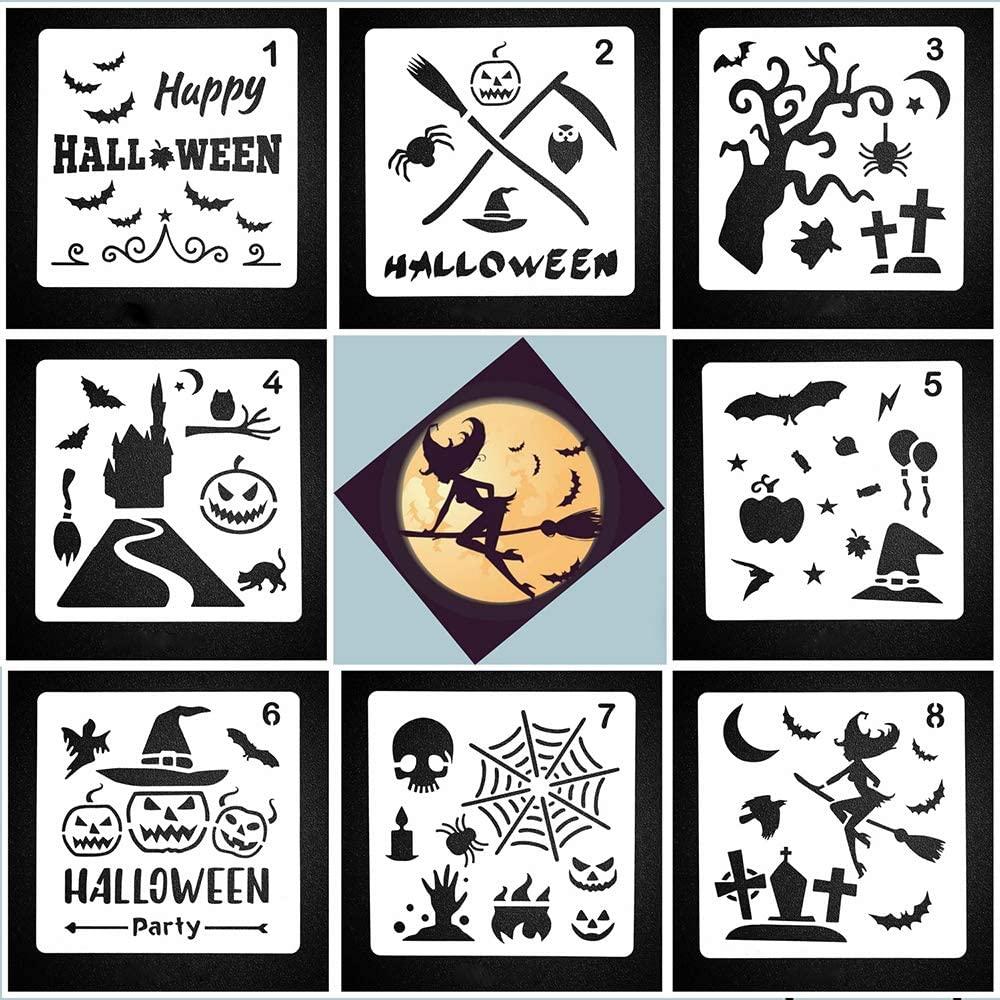 8Pcs Happy Halloween Stencils Template Sets DIY Halloween Art Drawing Painting Spraying Mould Decor Creative Pumpkin Skeleton Bat Witch Plastic Layering Stencils for Walls Window Mirror Scrapbook