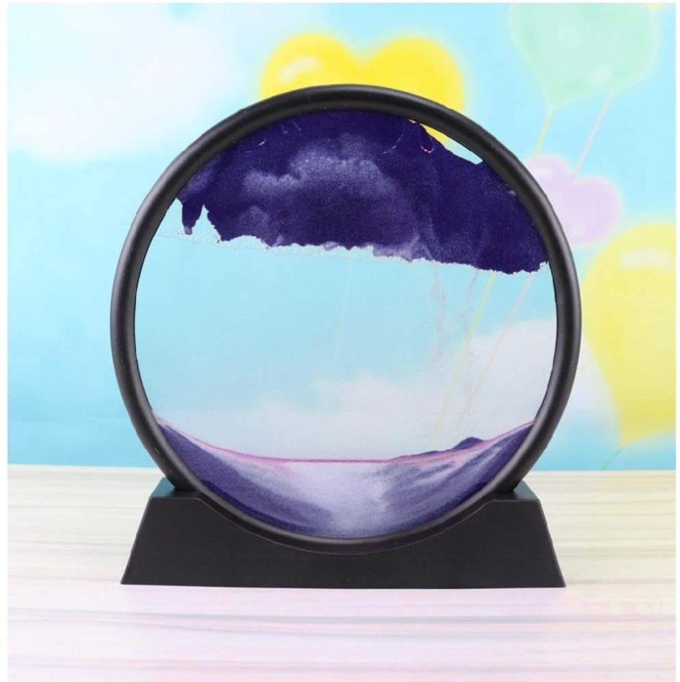 IRRIT 3D Dynamic Natural Landscape Flowing Sand Picture Art Hourglass,Transparent Glass Cround Colorful Painting Hourglass,Acrylic Base Support (18 × 19 × 4cm) (C-Purple)