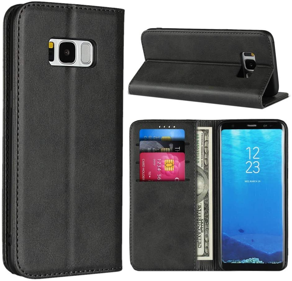 Samsung S8 Plus Case,SunYoo Cowhide Pattern Leather Magnetic Book Wallet Case Stand Holder Flip Cover with Card Slots/Cash Compatible with Samsung Galaxy S8 Plus-Black