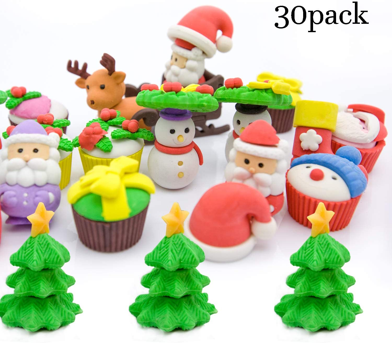 LanMa 30Pack Christmas Erasers Christmas Puzzle Erasers Perfect for Party Favors, Stocking Fillers,Kids Christmas