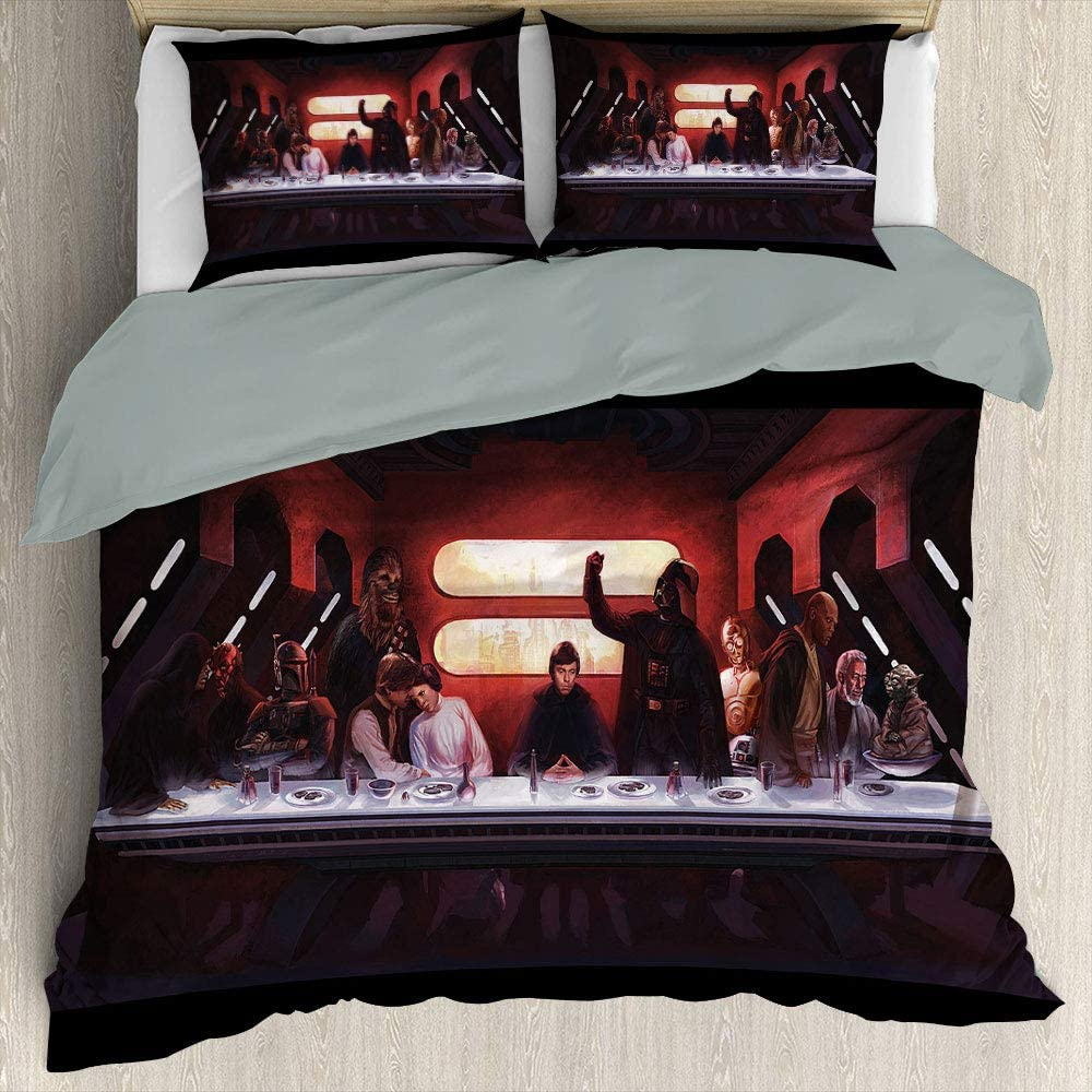 Star Wars Black Series Three Piece Duvet Cover Set Comforter Bedding Set Soft Microfiber Duvet Cover (Au Sing 140Cmx210Cm)